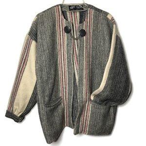 VTG AnneJo open front  wool blazer medallion